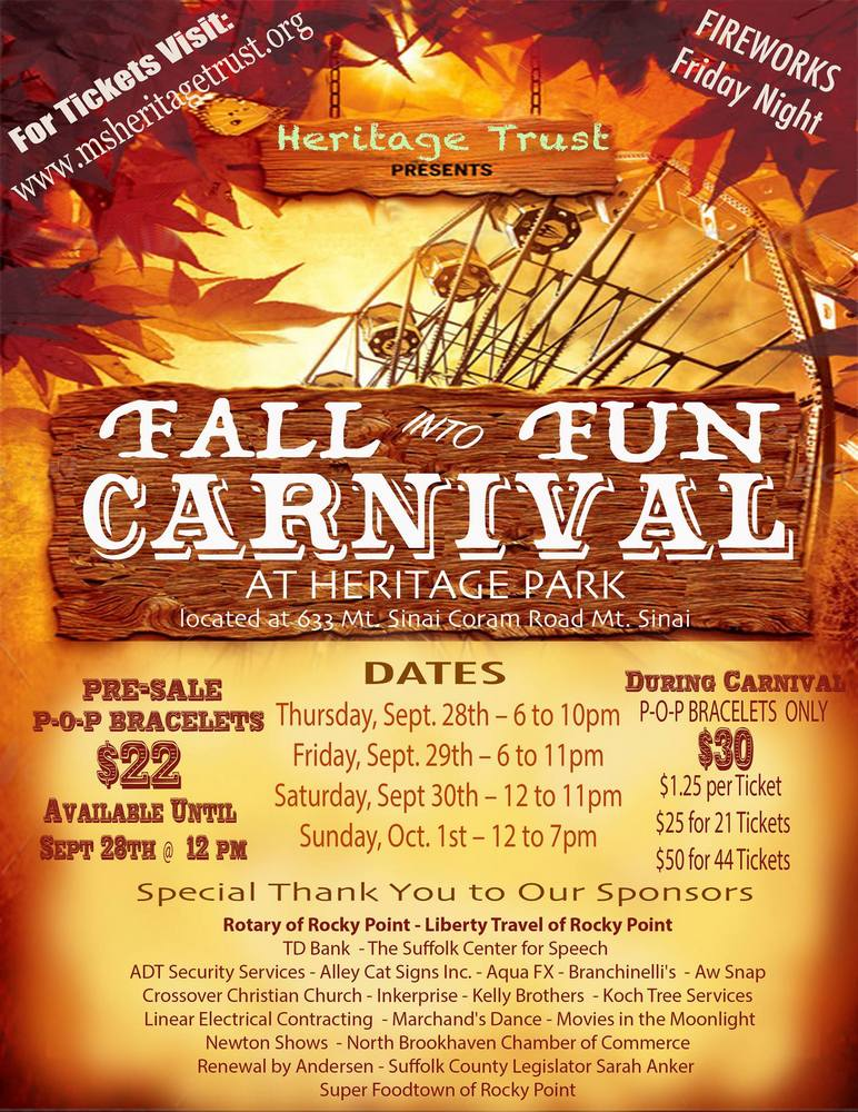 Heritage Trust Fall into Fun Carnival 2017 – Mt  Sinai, NY